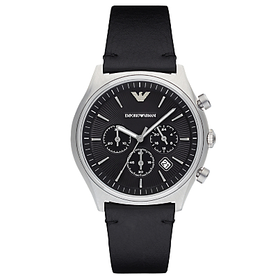 Emporio Armani AR1975 Men's Chronograph Date Leather Strap Watch, Black
