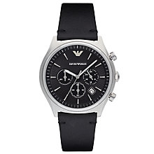 Buy Emporio Armani AR1975 Men's Chronograph Date Leather Strap Watch, Black Online at johnlewis.com