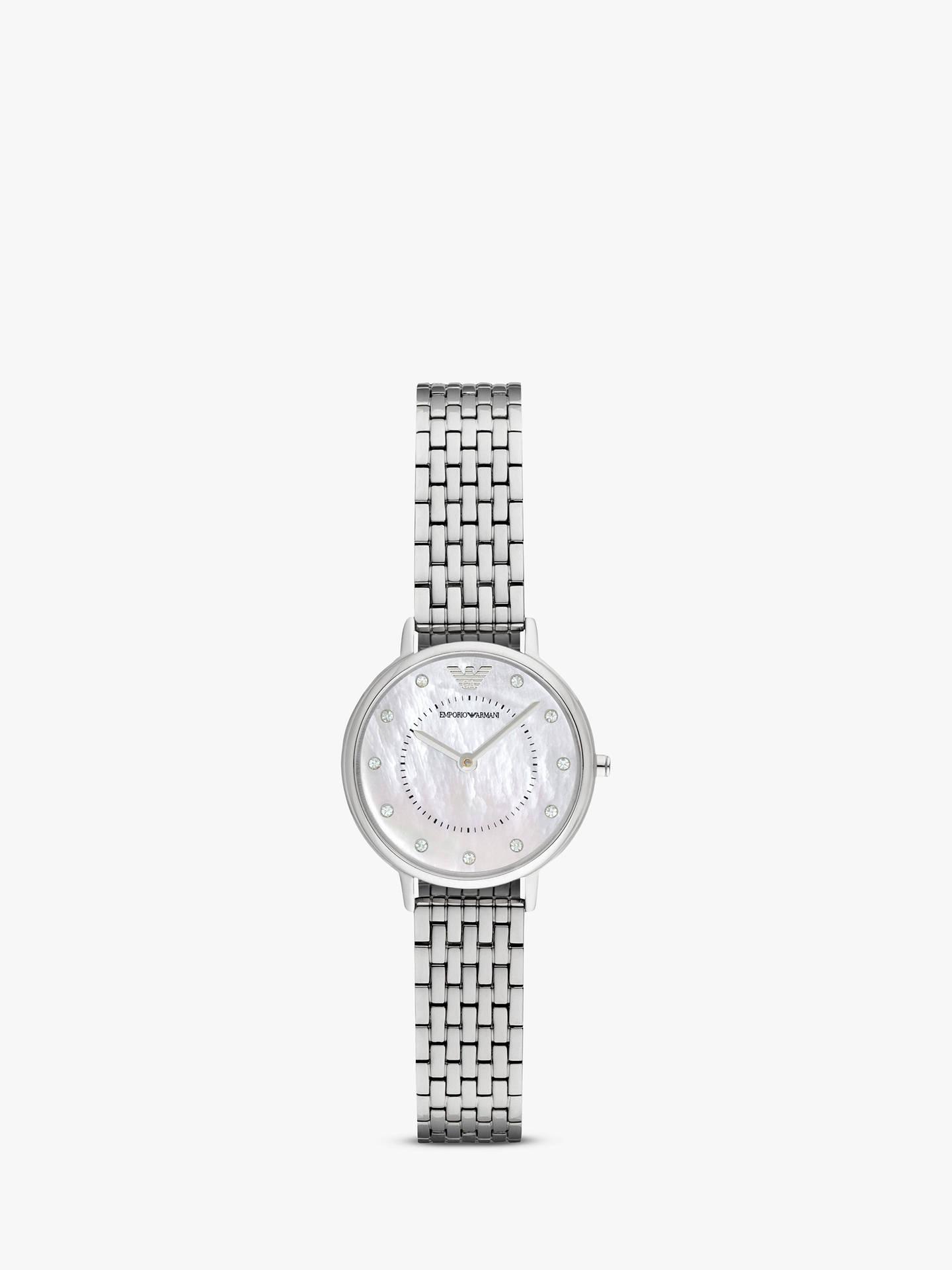 987c264d0a Buy Emporio Armani AR2511 Women's Crystal Bracelet Strap Watch, Silver  Online at johnlewis. ...