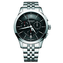 Buy Victorinox 241745 Men's Alliance Chronograph Day Date Bracelet Strap Watch, Silver/Black Online at johnlewis.com