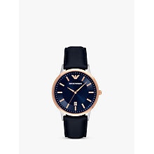 Buy Emporio Armani AR2506 Men's Dress Date Leather Strap Watch, Navy Online at johnlewis.com