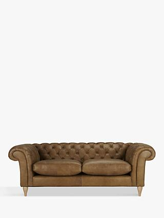 John Lewis & Partners Cromwell Chesterfield Leather Grand 4 Seater Sofa, Light Leg, Luster Cappucino
