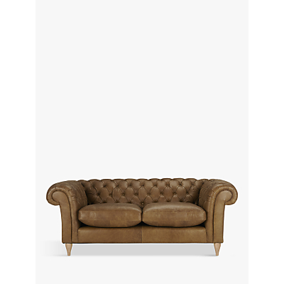 John Lewis Cromwell Chesterfield Leather Large 3 Seater Sofa, Light Leg