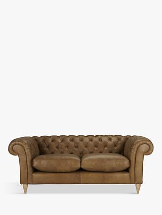 John Lewis & Partners Cromwell Chesterfield Leather Large 3 Seater Sofa, Light Leg, Luster Cappucino