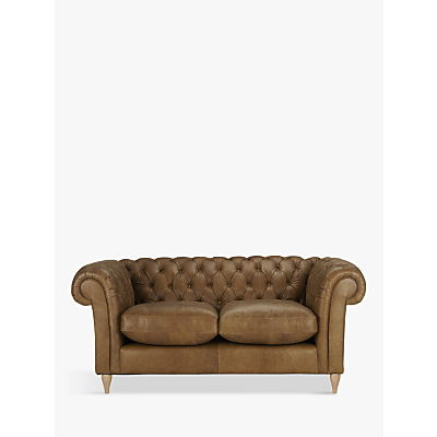 John Lewis Cromwell Chesterfield Leather Small 2 Seater Sofa, Light Leg