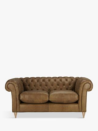 John Lewis & Partners Cromwell Chesterfield Leather Small 2 Seater Sofa, Light Leg, Luster Cappucino