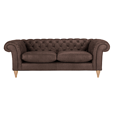 John Lewis Cromwell Chesterfield Leather Grand 4 Seater Sofa, Light Leg