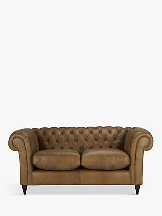John Lewis Partners Cromwell Chesterfield Leather Small 2 Seater Sofa Dark Leg Er