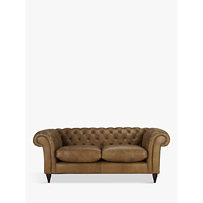 John Lewis Cromwell Chesterfield Leather Large 3 Seater Sofa, Dark Leg