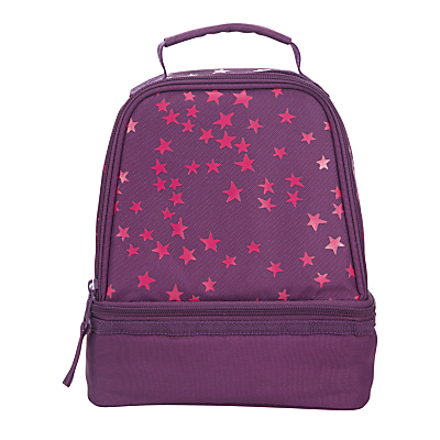 John Lewis Stars Print School Lunchbox, Purple/Pink