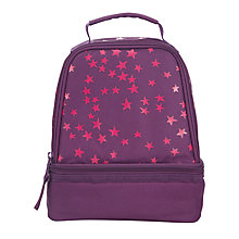 Buy John Lewis Stars Print School Lunchbox, Purple/Pink Online at johnlewis.com