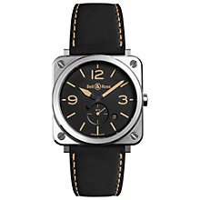 Buy Bell & Ross BRS-HERI-ST/SCA Unisex BRS Heritage Date Leather Strap Watch, Black Online at johnlewis.com