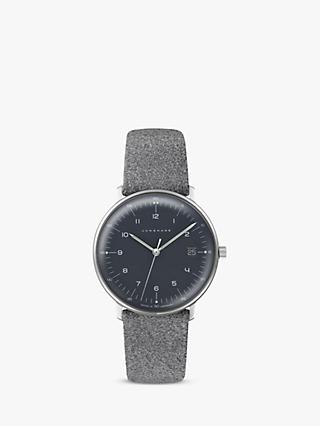Junghans 54442904 Women's Max Bill Date Leather Strap Watch, Grey/Black