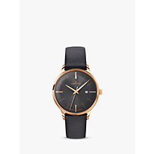 Buy Junghans 047/7572.00 Women's Meister Date Leather Strap Watch, Black Online at johnlewis.com
