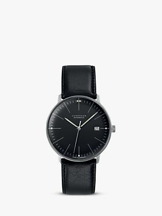Junghans 027/4701.00 Men's Max Bill Automatic Date Leather Strap Watch, Black