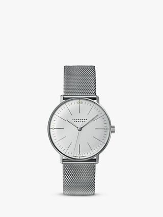 Junghans 027/3004.48 Men's Max Bill Hand Winding Mesh Bracelet Strap Watch, Silver/Grey