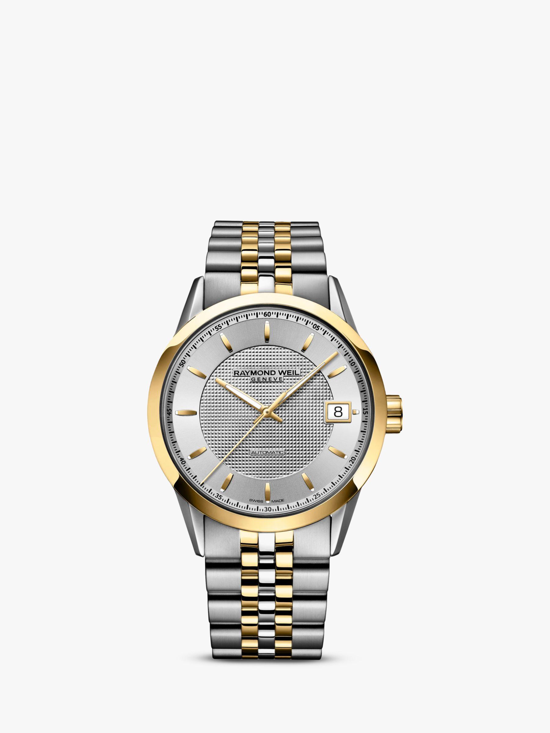 Raymond Weil Raymond Weil 2740-STP-6502 Men's Freelancer Date Bracelet Strap Watch, Gold/Silver
