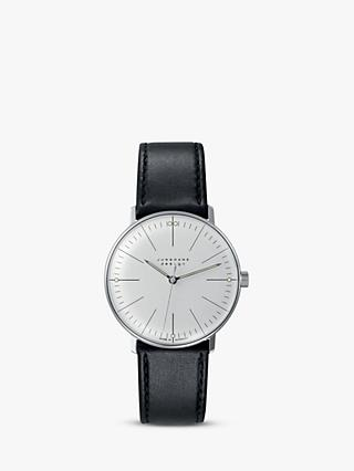 Junghans 027/3700.04 Men's Max Bill Hand Winding Leather Strap Watch, Black/Grey