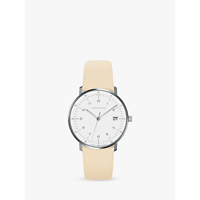 Junghans 047/4252 Women's Max Bill Date Leather Strap Watch, Cream/White
