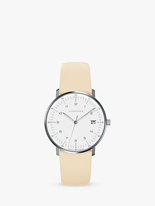Junghans 047/4252.04 Women's Max Bill Date Leather Strap Watch, Cream/White