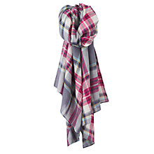 Buy Joules Julianne Check Wool Scarf, Grey/Dark Pink Online at johnlewis.com