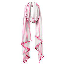 Buy Joules Carnival Stripe Scarf, Hot Pink/White Online at johnlewis.com