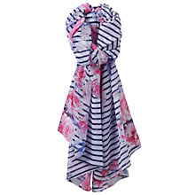 Buy Joules Wensley Stripe Floral Print Scarf, Navy/Multi Online at johnlewis.com