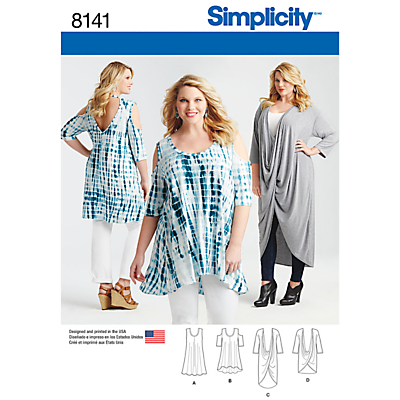 Product photo of Simplicity women s plus size tops sewing pattern 8141