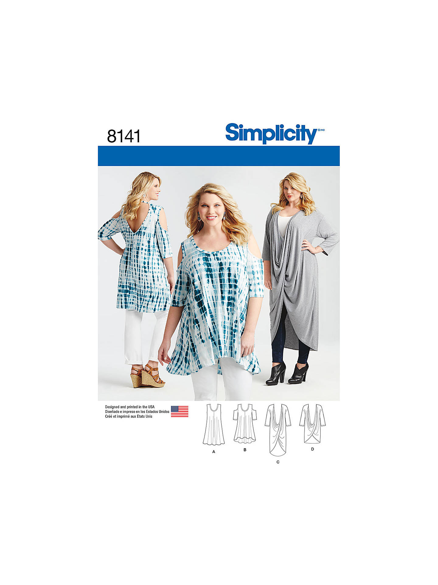 Simplicity Women\'s Plus Size Tops Sewing Pattern, 8141 at John Lewis ...