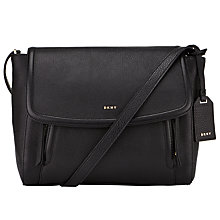 Buy DKNY Chelsea Vintage Small Leather Messenger Bag, Black Online at johnlewis.com