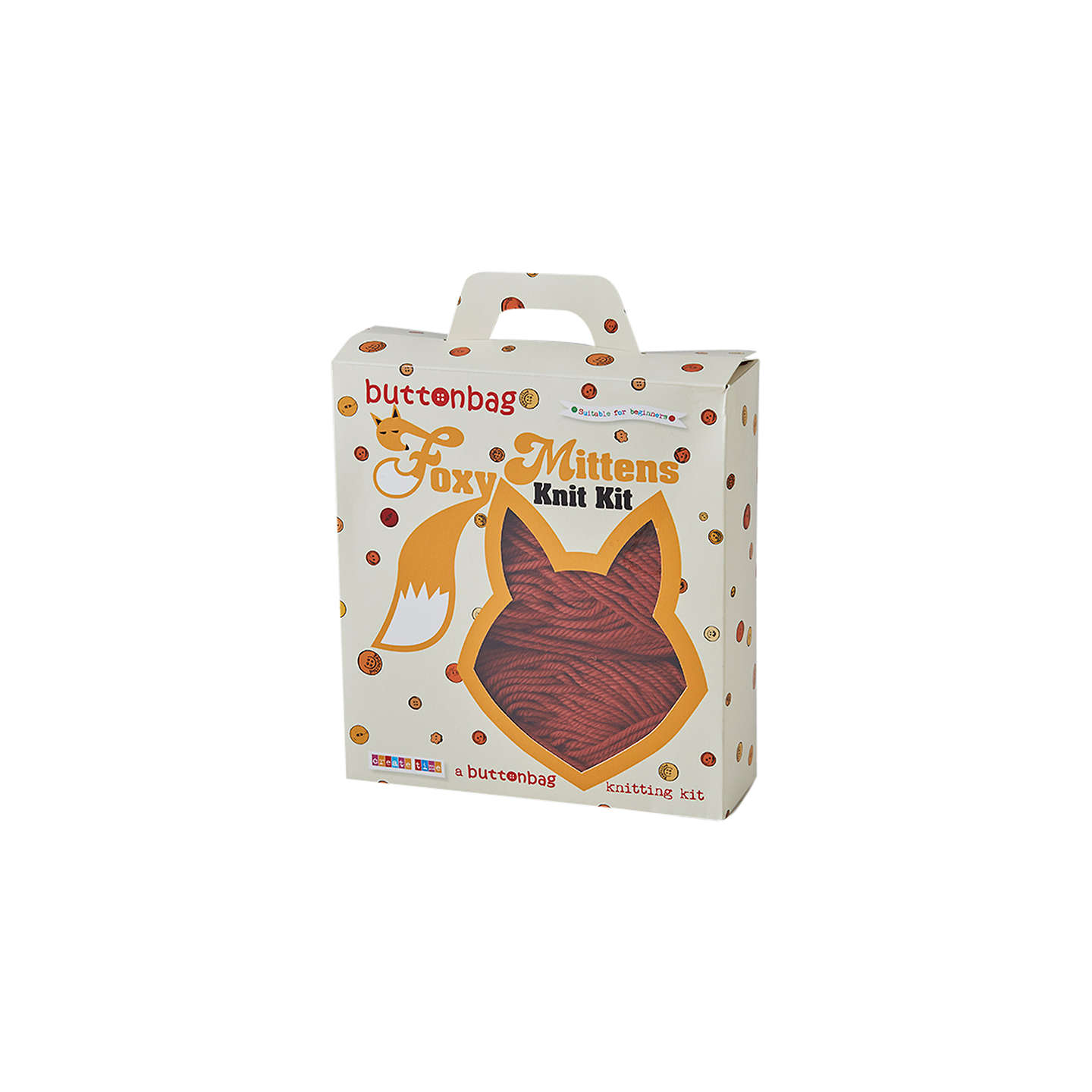 Buttonbag Make Your Own Foxy Mittens Knitting Kit at John Lewis