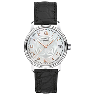 Montblanc 114366 Women's Tradition Date Alligator Leather Strap Watch, Black/Silver