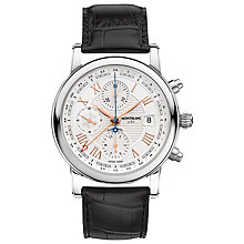 Buy Montblanc 113880 Men's Star Roman Chronograph UTC Automatic Carpe Diem Special Edition Leather Strap Watch, Black/White Online at johnlewis.com