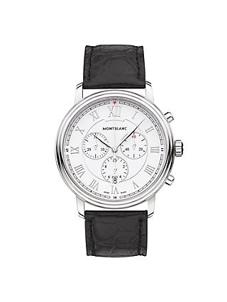Montblanc 114339 Men's Tradition Chronograph Alligator Leather Strap Watch, Black/White