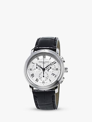 Frédérique Constant FC-292MC4P6 Men's Classics Chronograph Date Leather Strap Watch, Black/Silver