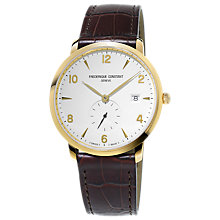 Buy Frédérique Constant FC-245VA5S5 Men's Slimline Date Leather Strap Watch, Dark Brown/White Online at johnlewis.com