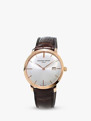 Frédérique Constant FC-306V4S4 Men's Slimline Automatic Leather Strap Watch, Brown/White