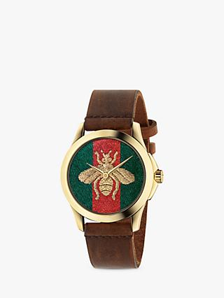 cc1225683ba Gucci YA126451 Women s G-Timeless Bee Leather Strap Watch