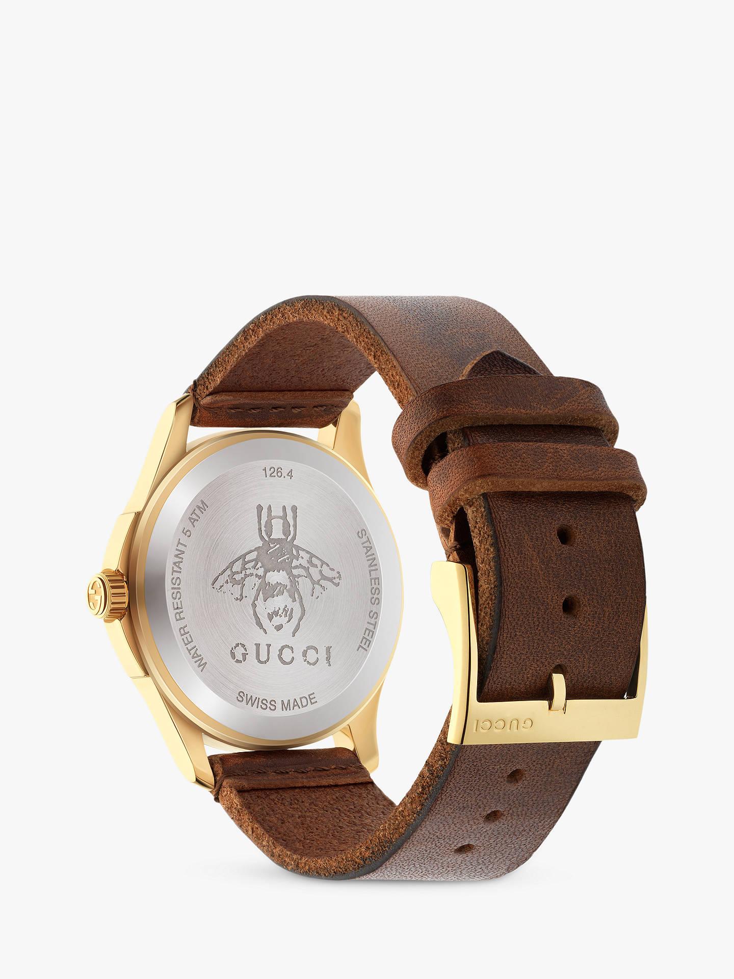 4ea0678e77c ... Buy Gucci YA126451 Women s G-Timeless Bee Leather Strap Watch