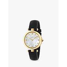 Buy Gucci YA141404 Women's Diamantissima Leather Strap Watch, Black/Mother of Pearl Online at johnlewis.com