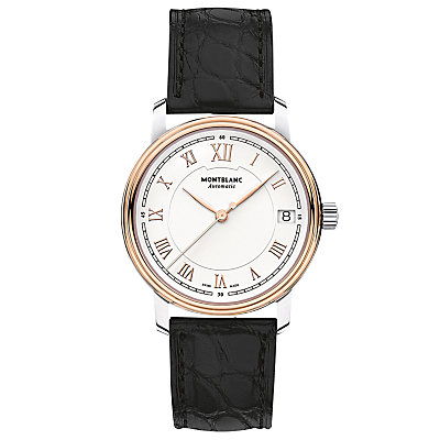 Montblanc 114368 Women's Tradition Date Automatic Alligator Leather Strap Watch, Black/White
