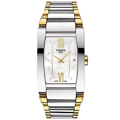 Tissot T1053092211600 Women's Generosi Diamond Date Two Tone Bracelet Strap Watch, Silver/Gold