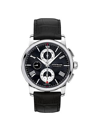 Montblanc 115123 Men's 4810 Chronograph Leather Strap Watch, Black