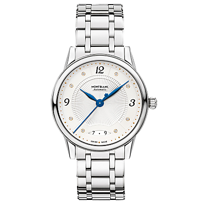 Montblanc 114733 Women's Bohème Diamond Date Automatic Bracelet Strap Watch, Silver/White