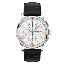 Buy Montblanc 114855 Men's 4810 Chronograph Automatic Alligator Leather Strap Watch, Black/Silver Online at johnlewis.com