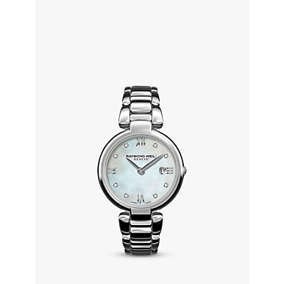 Raymond Weil 1600-ST-00995 Women's Shine Date Diamond Bracelet Strap Watch, Silver/Mother of Pearl