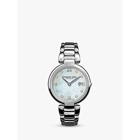 Buy Raymond Weil 1600-ST-00995 Women's Shine Date Diamond Bracelet Strap Watch, Silver/Mother of Pearl Online at johnlewis.com