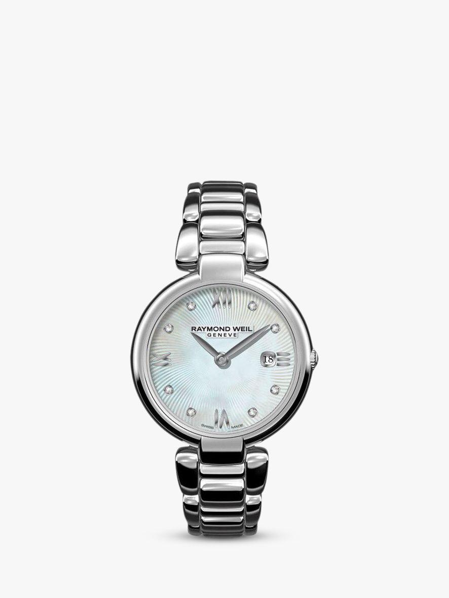 Raymond Weil Raymond Weil 1600-ST-00995 Women's Shine Date Diamond Bracelet Strap Watch, Silver/Mother of Pearl