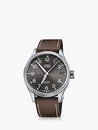 Oris 751 7697 4063-07 5 20 05FC Men's Big Crown Pro Pilot Automatic Date Leather Strap Watch, Brown/Gunmetal