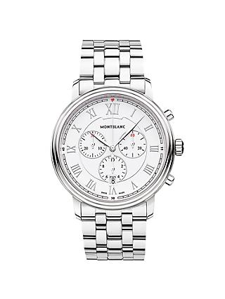 Montblanc 114340 Men's Tradition Chronograph Date Bracelet Strap Watch, Silver/White